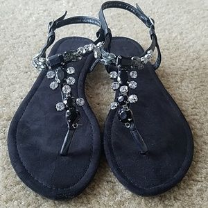Atmosphere black size 9 flip flops with jewels